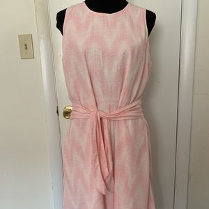 Gap Pink White Dress with Attached Sash NWT Size L